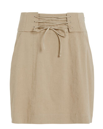 Alice Lace Up Mini Skirt, KHAKI, hi-res