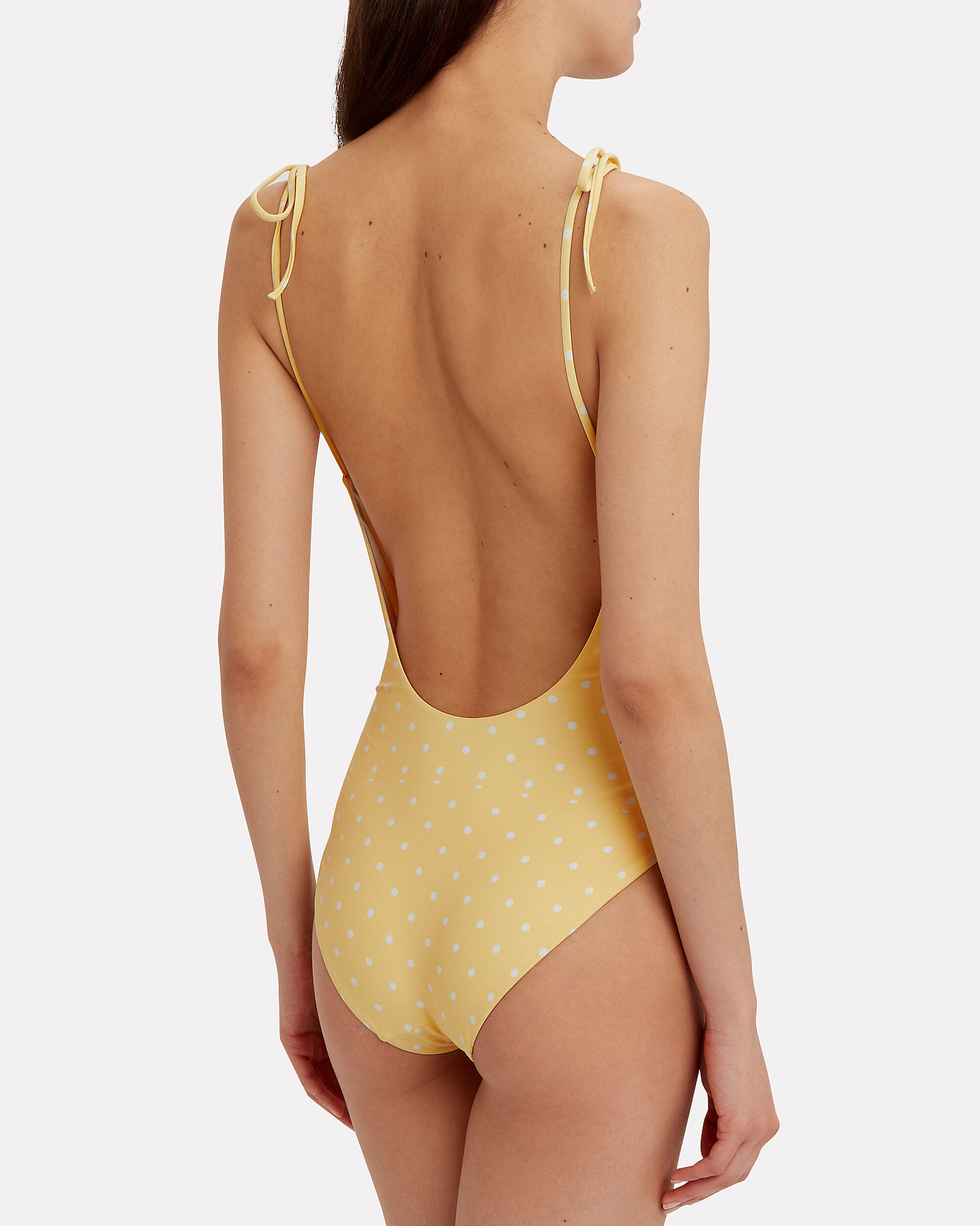 Ginny Polka Dot Tie Shoulder One Piece Swimsuit, YELLOW/WHITE, hi-res