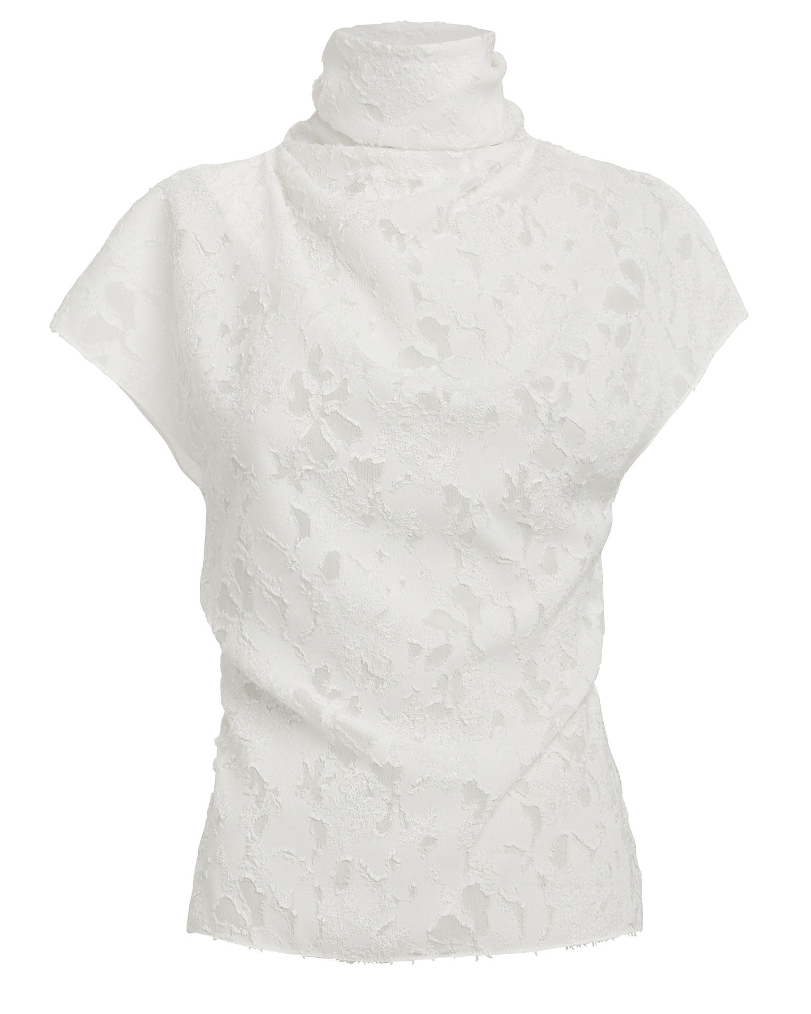 Floral Burnout Top, WHITE, hi-res