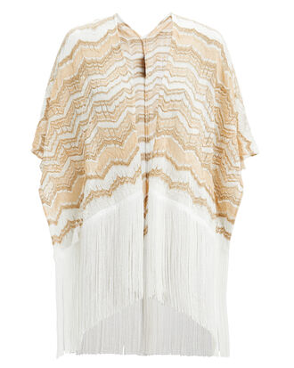 Fringed Zig Zag Cover-Up, WHITE/GOLD, hi-res