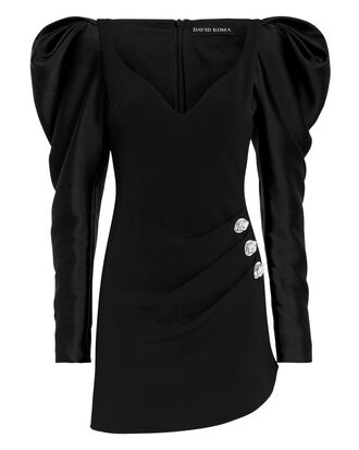 Puff Sleeve Mini Dress, BLACK, hi-res