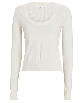 Cashmere Scoop Neck Sweater, WHITE, hi-res