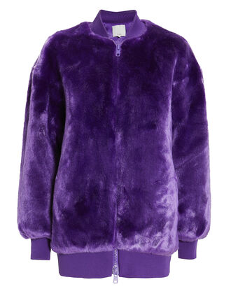 Purple Faux Fur Zip Up Track Jacket, PURPLE, hi-res