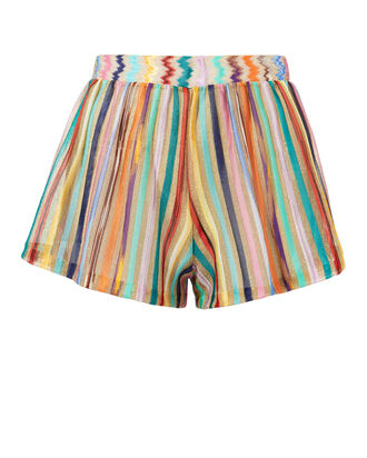 Lamé Striped Shorts, GOLD, hi-res