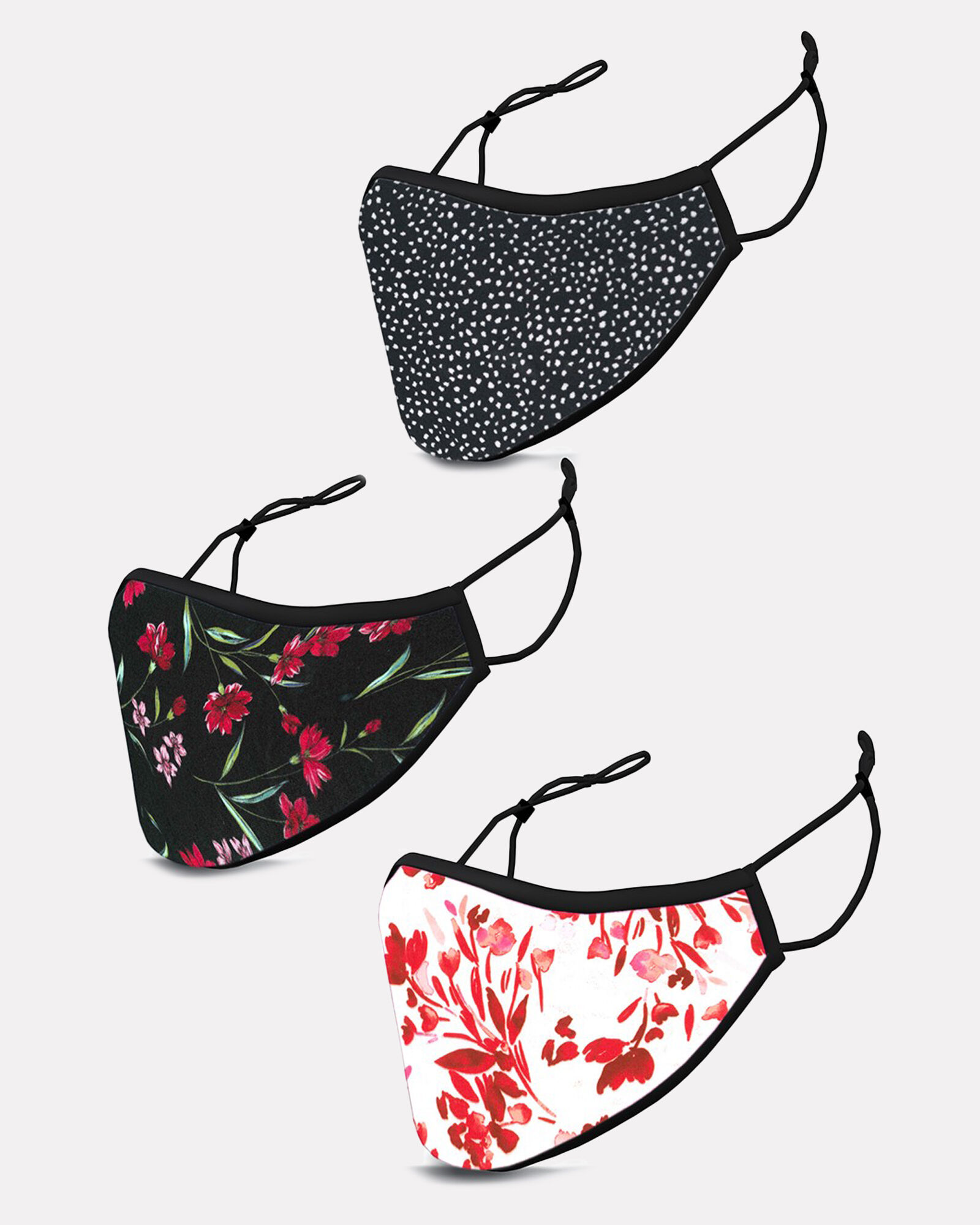Floral Jersey Face Mask 3-Pack, MULTI, hi-res