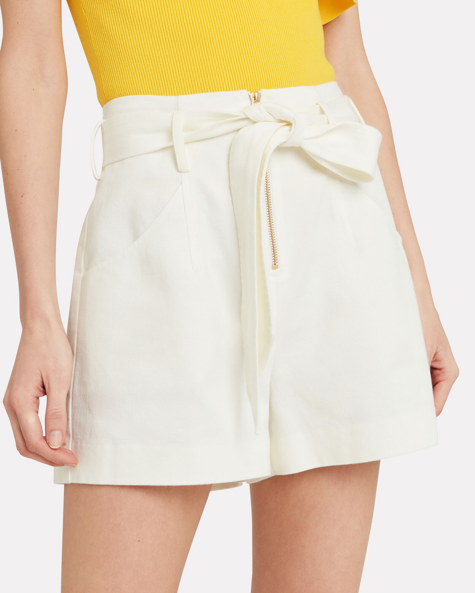 Gracie Paperbag Shorts, IVORY, hi-res