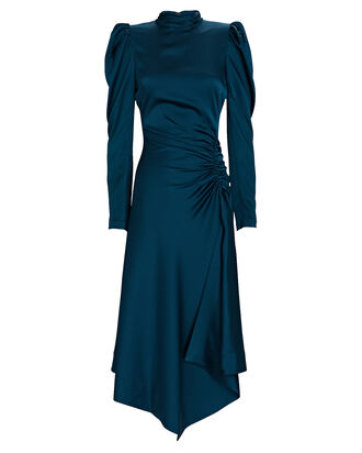 Reese Satin Crepe Midi Dress, DARK BLUE, hi-res