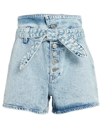 Brynn Tie-Waist Denim Shorts, LIGHT WASH DENIM, hi-res