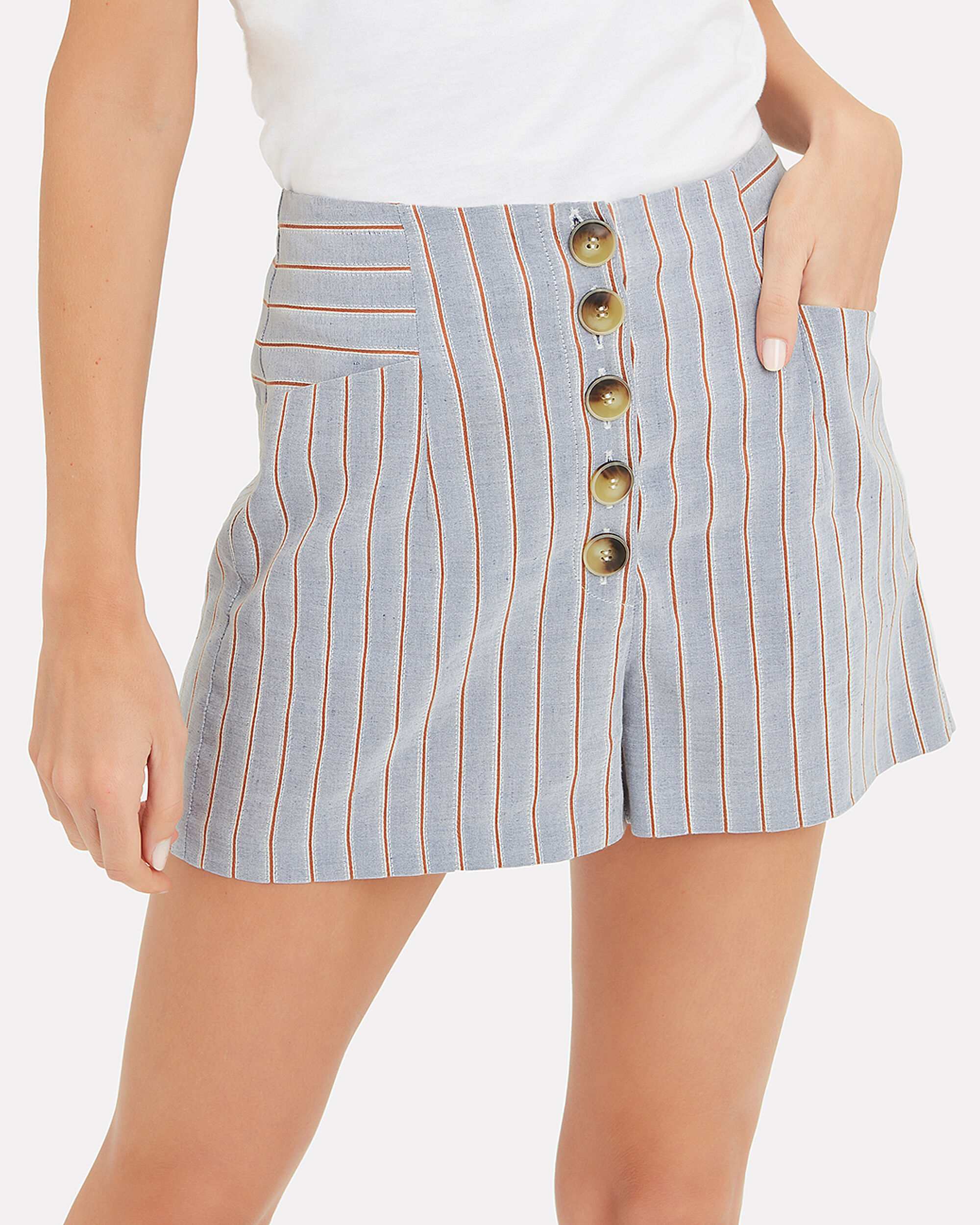 Delany Striped Linen High Waist Shorts, BLUE, hi-res