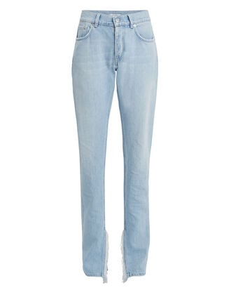 Fringe Straight Leg Jeans, LIGHT BLUE DENIM, hi-res