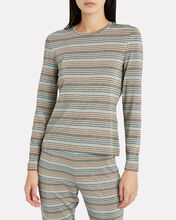 Maya Striped Lurex T-Shirt, BLUE STRIPE, hi-res