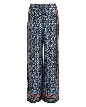 Clarissa Foulard Silk Trousers, MULTI, hi-res