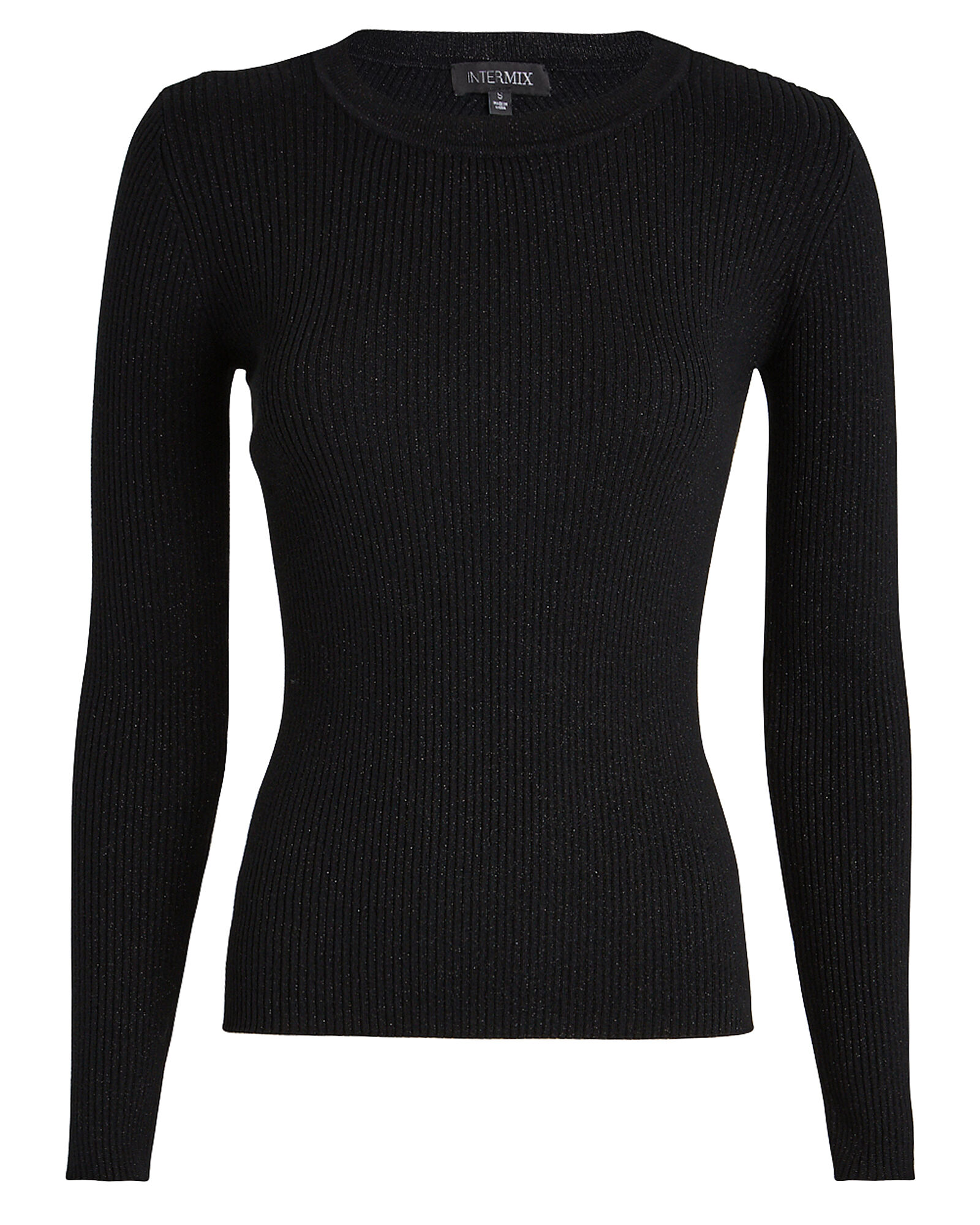 Avril Lurex Rib Knit Top, BLACK, hi-res