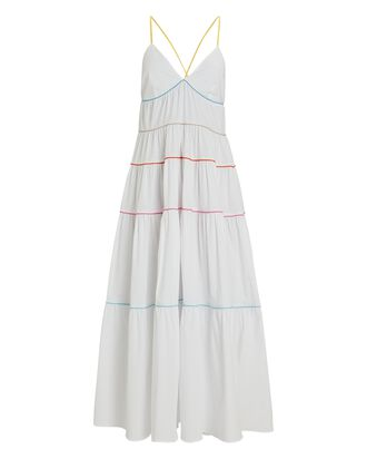 Cleo Tiered Poplin Midi Dress, WHITE, hi-res