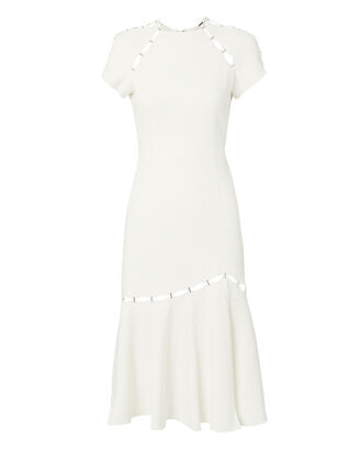 Stapled Crepe Dress, WHITE, hi-res