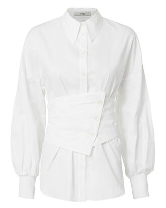 Satin Poplin Corset Shirt, WHITE, hi-res