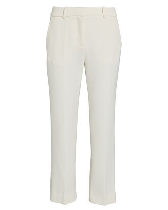 Crepe Cigarette Trousers, IVORY, hi-res