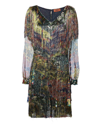Floral Fringe Dress, MULTI, hi-res