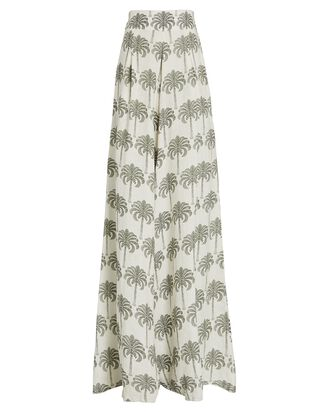 Azahar Printed Wide-Leg Pants, IVORY/GREEN, hi-res