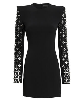 Crystal Floral Embellished Long-Sleeved Mini Dress, BLACK, hi-res