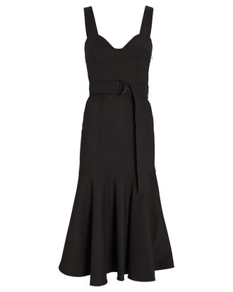 Sabrina Belted Midi Dress, BLACK, hi-res