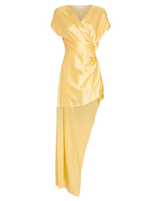 Silk Wrap Mini Dress, YELLOW, hi-res
