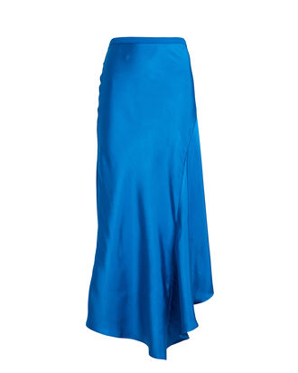 Bailey Asymmetrical Silk Skirt, BLUE-MED, hi-res