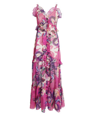 Grace Printed Convertible Maxi Dress, PURPLE, hi-res