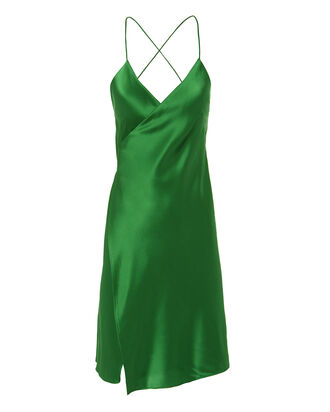Green Mini Wrap Dress, GREEN, hi-res