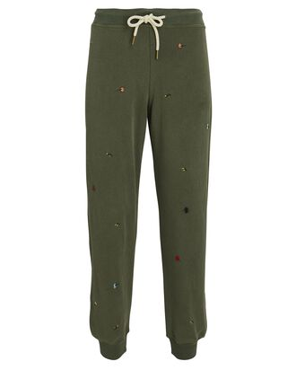 The Cropped Floral Embroidery Joggers, OLIVE, hi-res