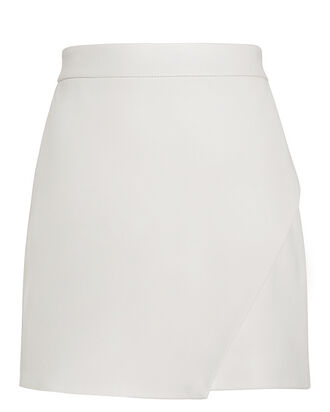 White Leather Mini Skirt, WHITE, hi-res