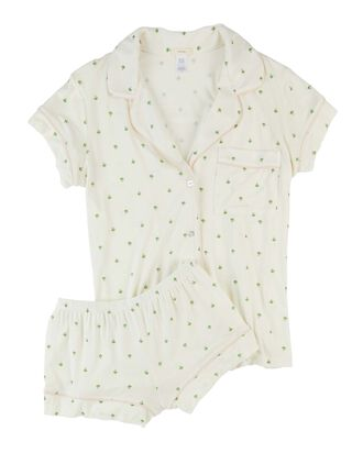 Giving Palm Short Pajama Set, WHITE, hi-res