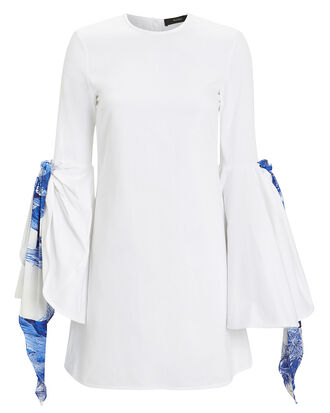 Dogmatism Flare Scarf Mini Dress, WHITE, hi-res