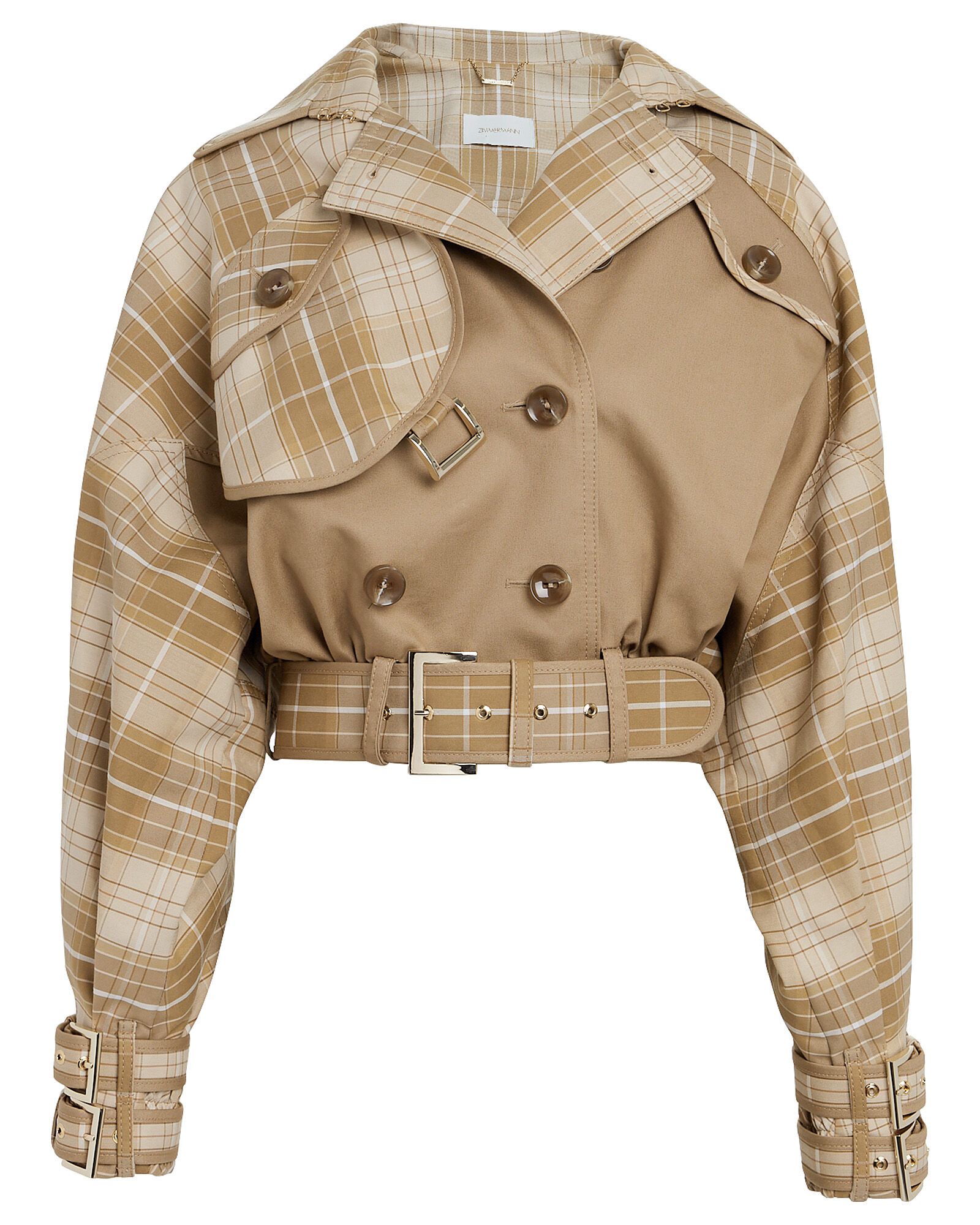 Sabotage Checked Cropped Jacket, BEIGE, hi-res