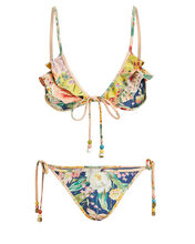 Zinnia Floral Triangle Bikini Set, NAVY/YELLOW FLORAL, hi-res