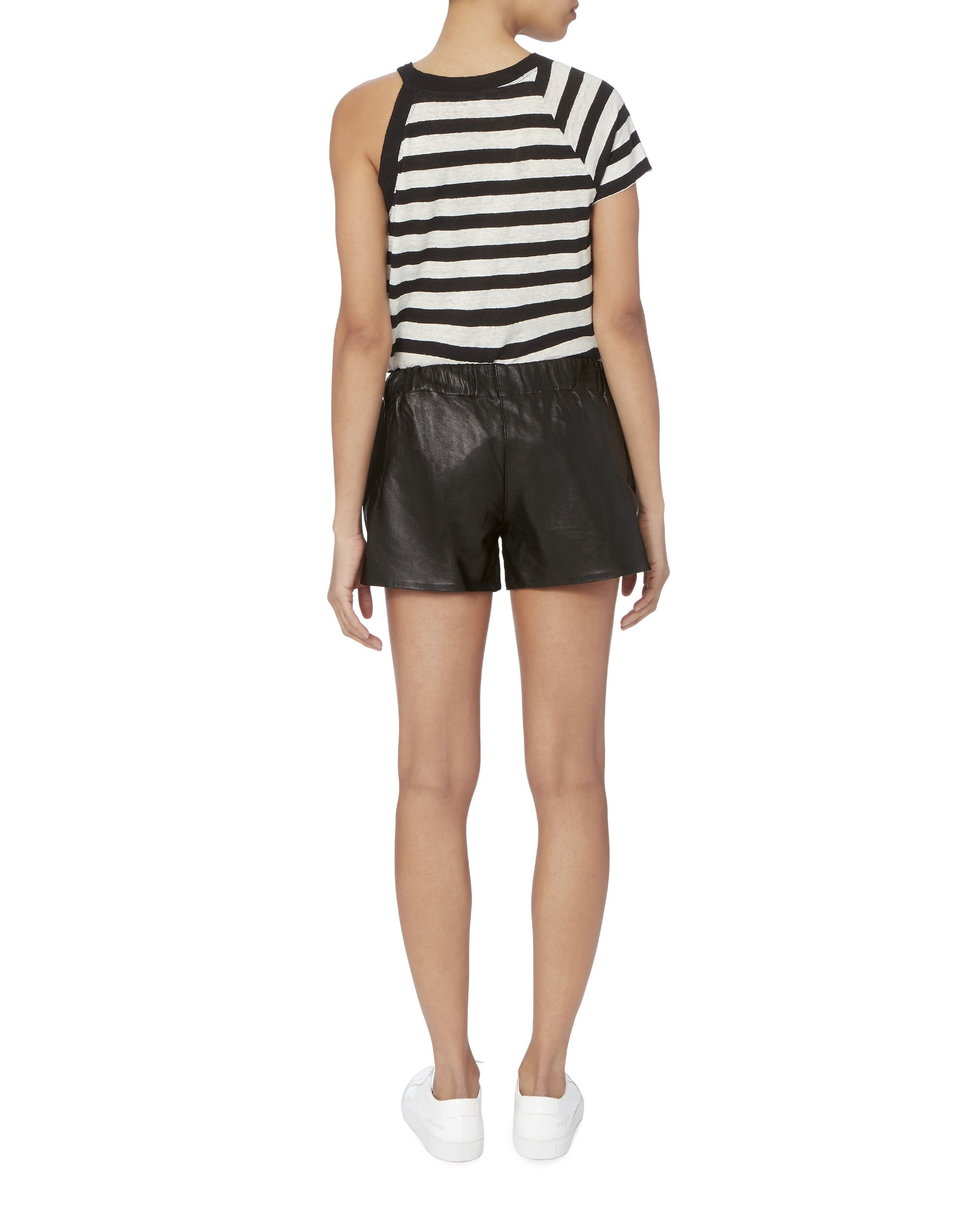 Leather Jogging Shorts, BLACK, hi-res
