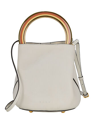 Circular Top Handle Leather Bag, WHITE, hi-res