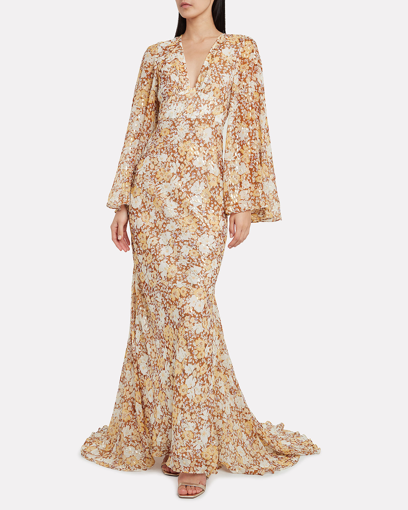 Florence Silk-Lurex Floral Gown, MULTI, hi-res