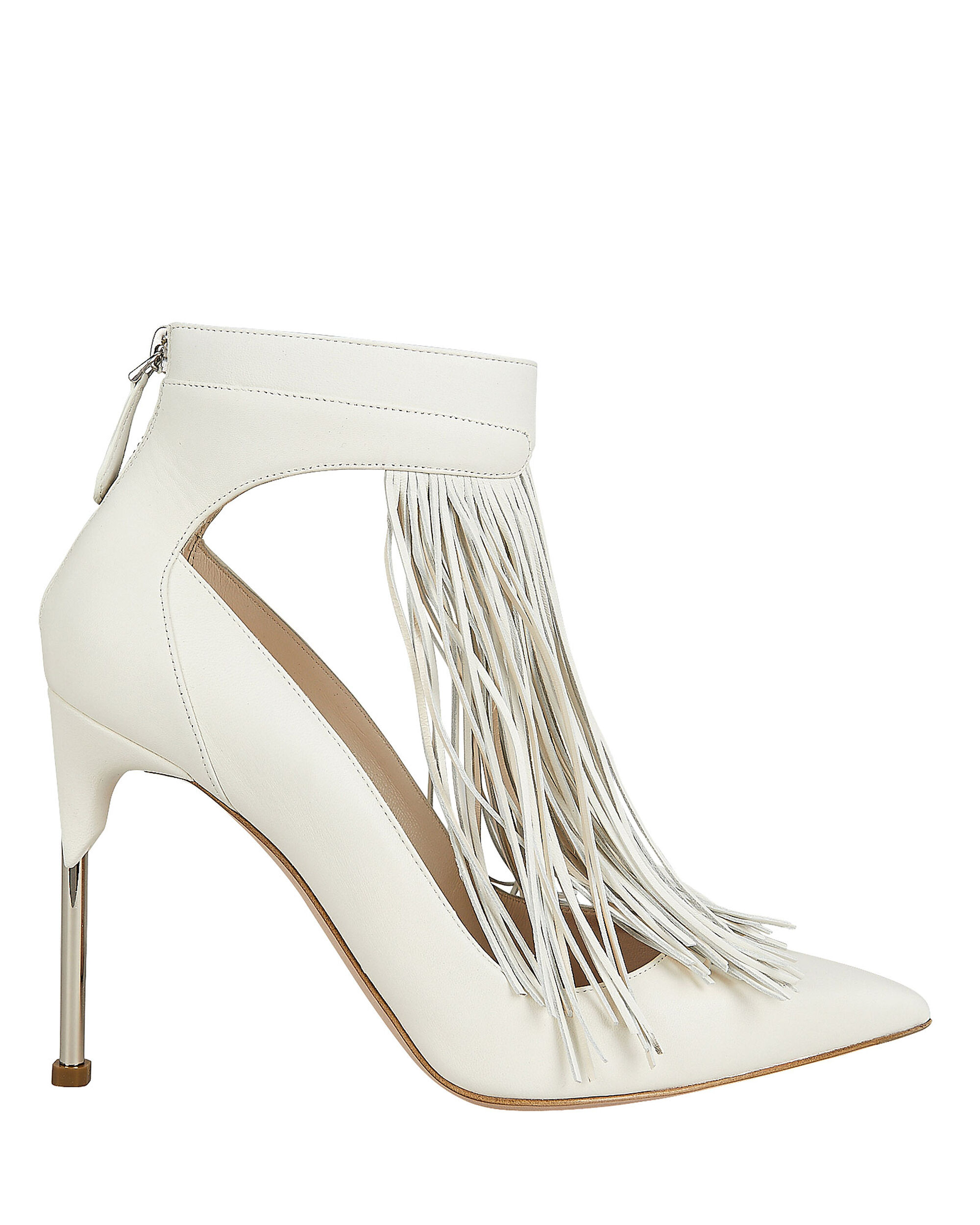 Silver Fringe Stiletto Pumps, IVORY, hi-res