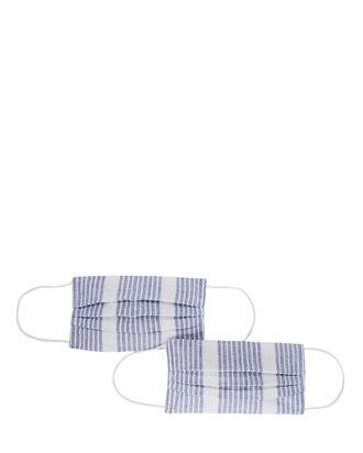 Pleated Stripe Face Mask 2-Pack, BLUE/WHITE, hi-res