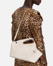 Athaarah Croc-Embossed Leather Clutch, WHITE, hi-res