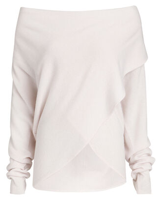 Clea Cashmere Wrap Sweater, WHITE, hi-res