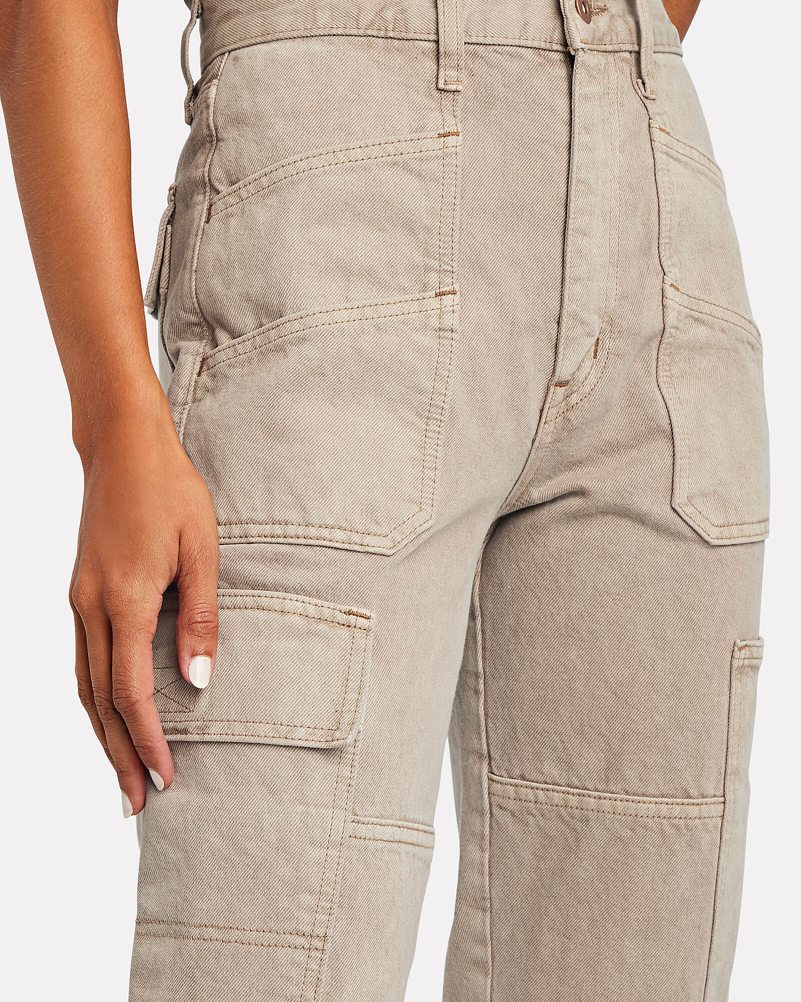 Savior High-Rise Cargo Jeans, BROWN, hi-res