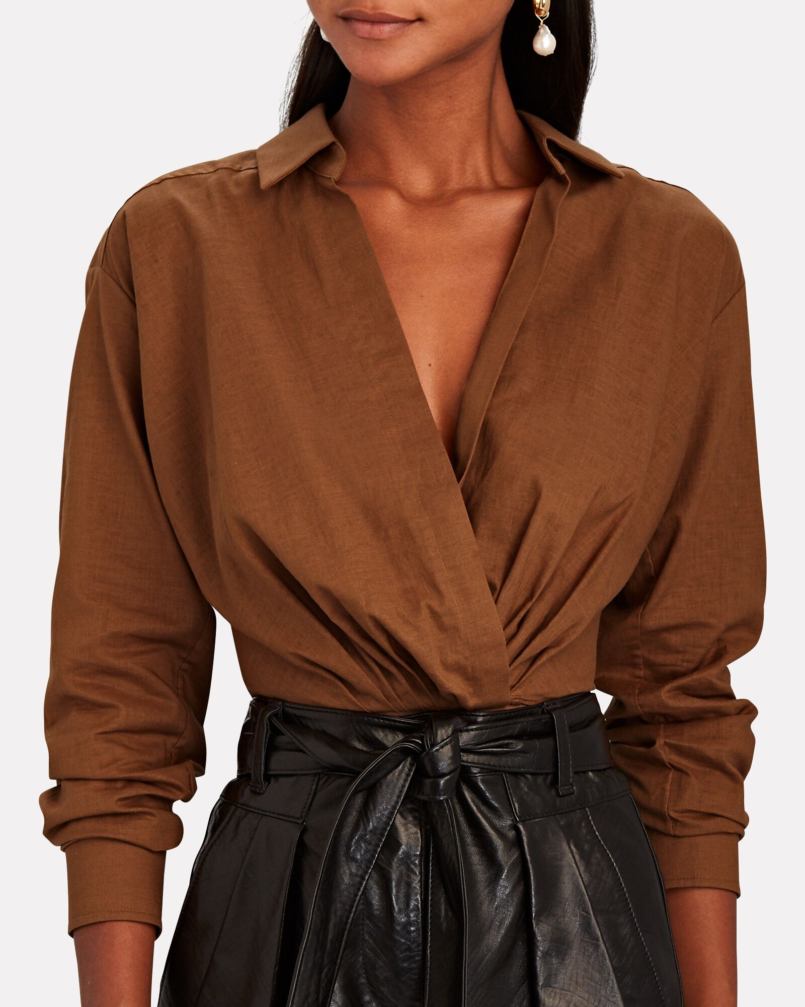 Maxwell Cropped Linen Wrap Shirt, BROWN, hi-res