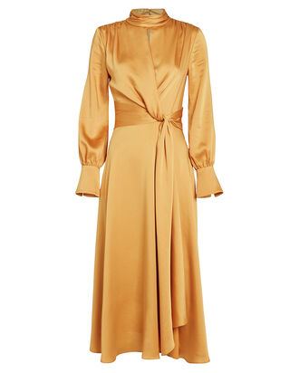 Fluid Satin Midi Dress, GOLD, hi-res