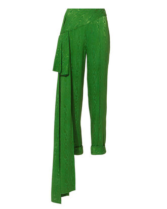 Romeo Side Drape Green Cigarette Pants, GREEN, hi-res