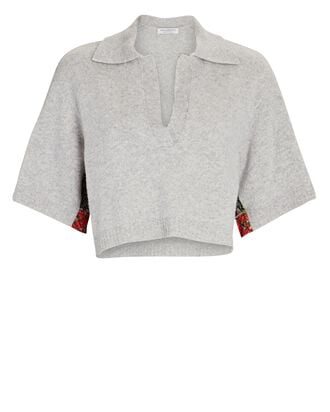 Cropped Cashmere Polo Sweater, GREY, hi-res