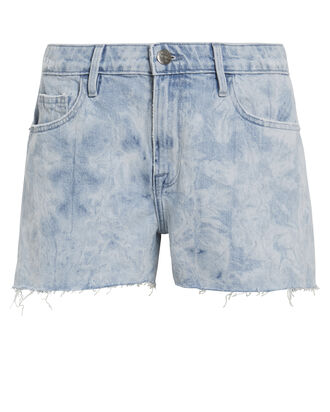 Frayed Cloud Denim Shorts, LIGHT BLUE DENIM, hi-res