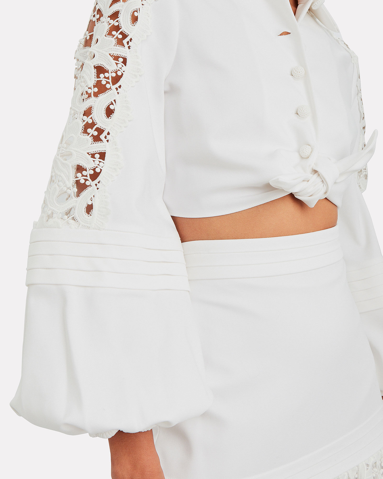 Toilan Lace Tie-Front Top, WHITE, hi-res