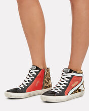 Slide Star High-Top Sneakers, LEOPARD/BLACK, hi-res